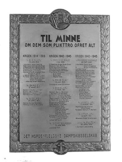 Minnetavlen over de faldne fotogr. på Nordenfjelske D.S.
