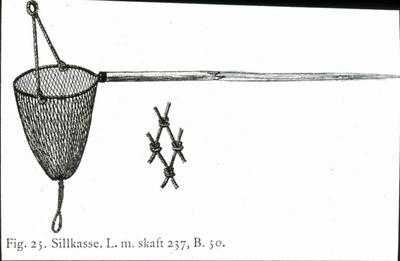 Text på skioptikonplåten: Fig. 25. Sillkasse. L. m. skaft 237, B. 50.
