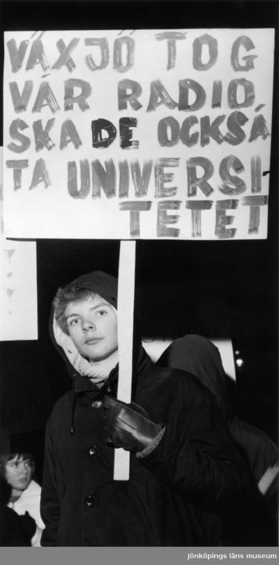 December 1965. Protestmöte av Jönköpings skolungdom i universitetsfrågan.