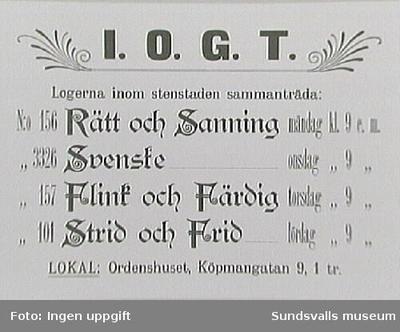Anslag med sammanträdestiderna för I O G T-logernas inom Stenstaden, i Ordenshuset lokal, Köpmangatan 9, 1 tr.