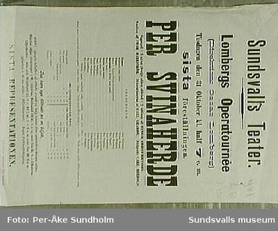 Teateraffisch ur Sundsvalls Teaterförenings arkiv , Folkrörelsearkivet.