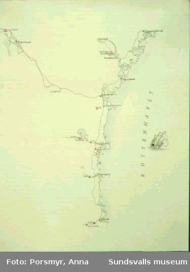Karta över handpappersbruken i Norrland ur utställningen