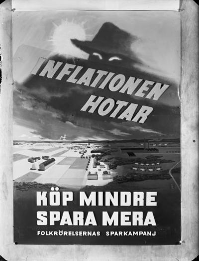 Affisch av Folkrörelsernas sparkampanj med texten Inflationen hotar - Köp mindre Spara mer