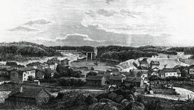 Hamnen i Södertelje, år 1861.