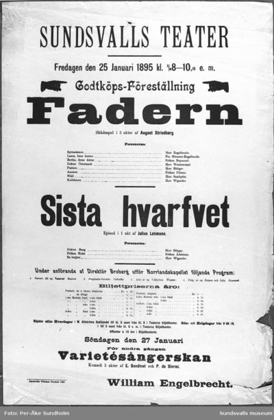 Teateraffisch ur Sundsvalls Teaterförenings arkiv, Folkrörelsearkivet,