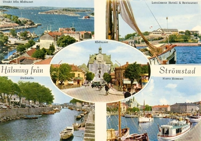 Tryckt text på kortet: Hälsning från Strömstad.  Utsikt från Rådhuset, Laholmens Hotell & Restaurant, Strömsån, Norra Hamnen.
