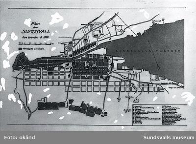 Plan över Sundsvall före branden 1888. Bebyggda områden.
