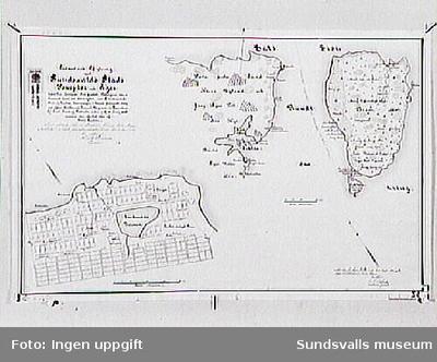 Sundsvalls stad 1698. Ritad av N Spohle. Avritad 1900.