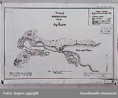 Karta över Sundsvalls stad 1642 av Oluf Träsk, avritad 1901.