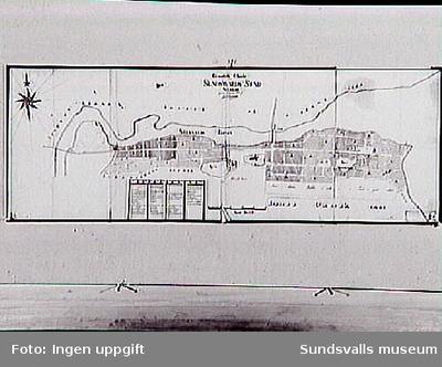 Karta över Sundsvall 1776 av J Törnsten.