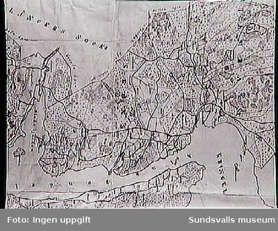 Del av sockenkarta, Sköns sn, omkring 1860.