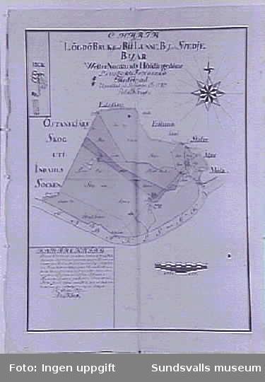Karta över ...byskogar... i Ljustorp och Hässjö socknar.
