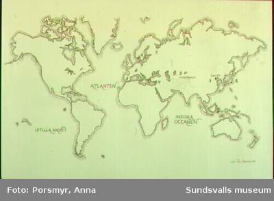 Karta med spridningen över pappersmakarekonsten ur utställningen
