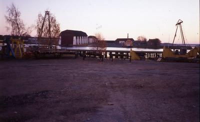 vy över Wasaskjul och pumphuset på örlogsvarvet i Karlskrona