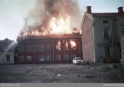 Branden vid Östra torget i Jönköping.