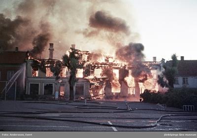 Branden på Målargatan vid Östra torget i Jönköping.