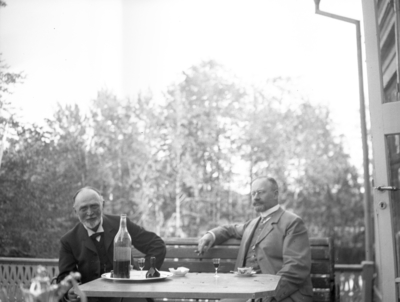 Knut och Karl på verandataket. År 1906.