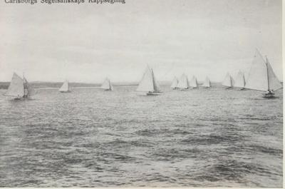 Karlsborg i början av 1900-talet.Karlsborgs segelsällskaps kappsegling.