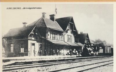 Karlsborg i början av 1900-talet. Järnvägsstationen.