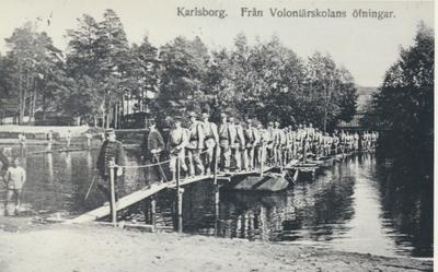 Karlsborg i början av 1900-talet.Från Volontärskolans övningar.