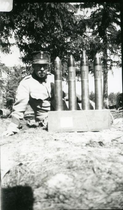 Ammunition till 7,5 cm kanon. Artilleriskjutskolan, Skillingaryd