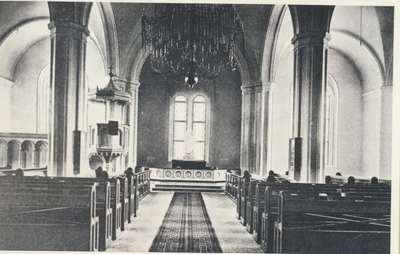 Karlsborg i början av 1900-talet. Interiör Garnisonskyrkan.