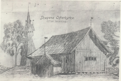 Karlsborg i början av 1900-talet.Skagens offerkyrka.