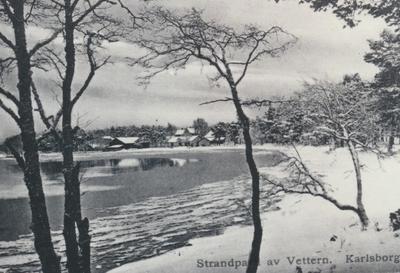 Karlsborg i början av 1900-talet. Strandparti av Vättern.