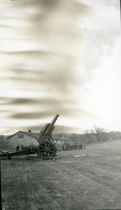 Haubits m/1917. 21 cm. Lösskjutning, vid A 6. Fältskjutning.