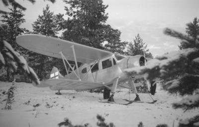 Flygplan Waco ZQC-6 uppställd i skog vid F 19, Svenska frivilligkåren i Finland.