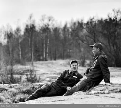 Kn Asplund kompanichef och skjutledare och Övlt Hällkvist C CBG (Centrala BefälsGruppen)