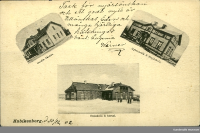 Vykort med motiv över den gamla skolan, gymnastik- och slöjdskolan, småskolan och hörsalen vid Kubikenborg i Sundsvall.