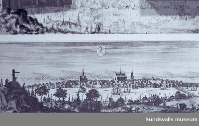 Sundsvall omkring år 1700. Ur Suecia antiqua et hodierna av Erik Dahlberg.  Kopparstick.