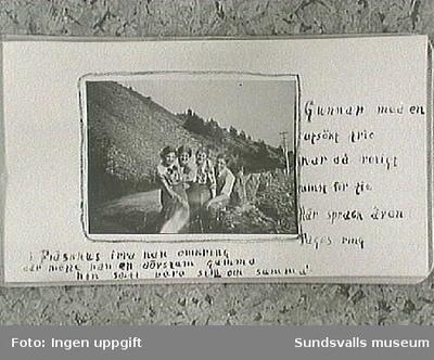 Amatörfotografier fr resa till Trondheim (Norge) sommaren 1915. Maja Braathen, Gunnar Johansson, Tage, Atti, Lisa.