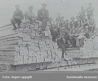 Brädgården omkr 1923-24. Personer se acc 409. E-stämpeln på bräderna lär ha varit kvalitetsmärkning. (Dykdalben t h har inte kommit med på repronegativet).