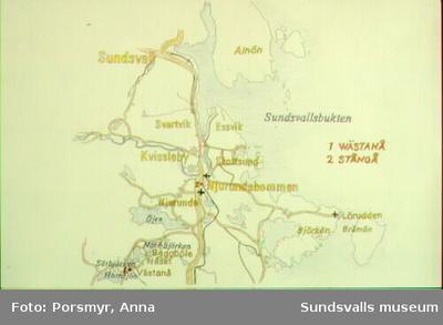 Karta över Claes Erik Westbergs pappersbruk i Njurunda ur utställningen