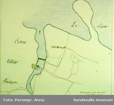 Karta över Norrlands nordligaste handpappersbruk, Hornedström/Nyede (1760 - 1833) i Ytterlännäs, anlagt av Lars Hornaeus och Erik Edström.Karta ur utställningen