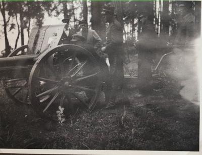 Ammunitionsfabriken i Karlsborg 1920-tal. Från skjutningar på Vanäs udde.