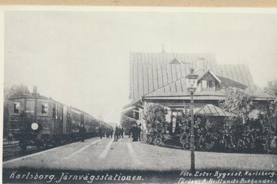 Karlsborg i början av 1900-talet. Järnvägsstation.