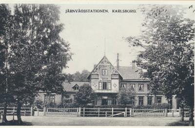 Karlsborg i början av 1900-talet.Järnvägsstationen.