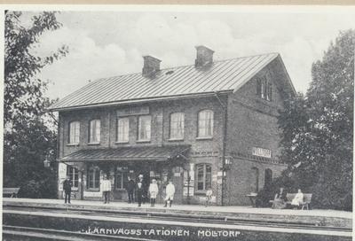 Karlsborg i början av 1900-talet. Järnvägsstationen i Mölltorp.