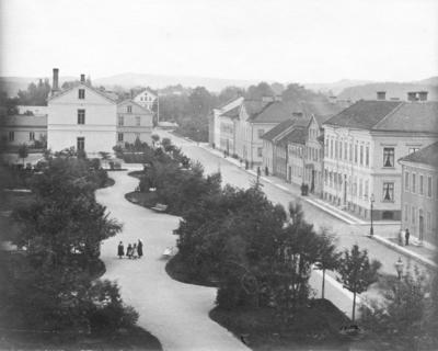 Kyrkogatan i Jönköpiong, som för i tiden kallades Skjutsstallsgatan.