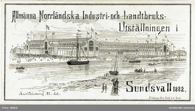 Kartor och program från Norrländska konst- lantbruks- och indistriutställningen i Sundsvall 1882. Illustrationerna tecknade av Axel Tallberg. Första bilden är ett utsnitt från bild 3. Alla sidor är i originalet sammanhängande från ett utvikningsbart programblad.