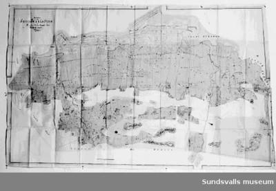 Stadskartor över Sundsvall med omgivningar från 1835.