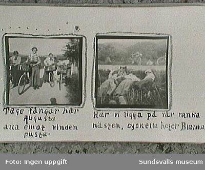Amatörfotografier fr resa till Trondheim sommaren 1915. Maja Braathen, Gunnar Johansson, Tage, Atti, Lisa. Med cykel. Foto t v: Maja, Atti, Lisa, Tage. T h: Atti, Lisa, Maja.
