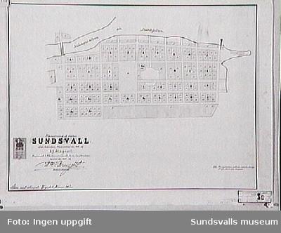 Karta över Sundsvall efter branden 1805 av E.J .Stagnell. Kopierad 1895.