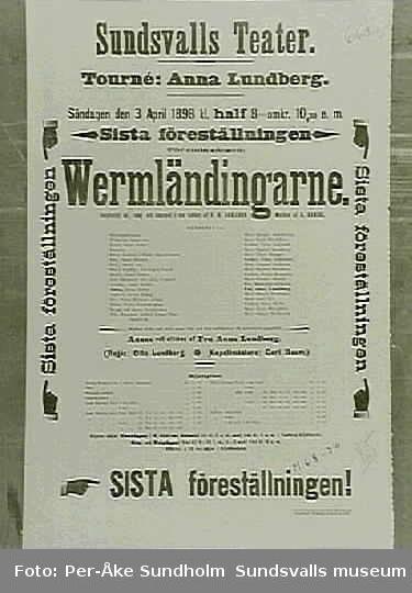 Teateraffisch ur Sundsvalls Teaterförenings arkiv, Folkrörelsearkivet.