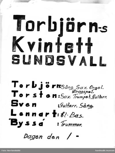 Reproduktion av affisch, Torbjörns kvintett från Sundsvall.
