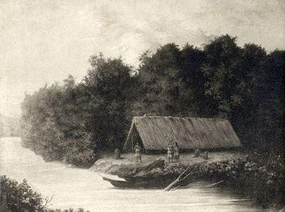 Intiaanimaja Napojoen seuduilla jesuiittain aikana (maalauksen mukaan)