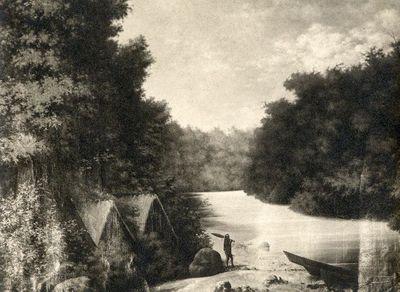 Intiaanimajoja erään Napon sivujoen varrella (maalauksen mukaan)